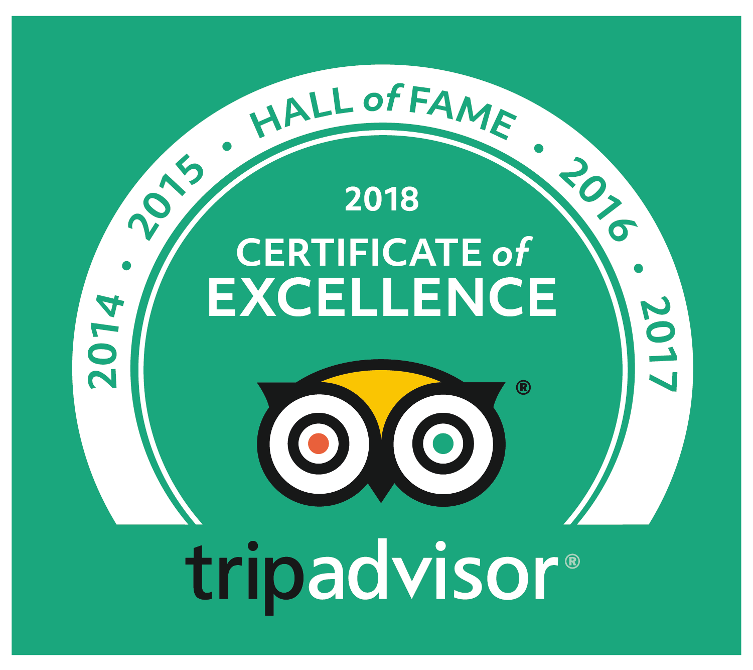 certificate of excellence hall of fame tripadvisor