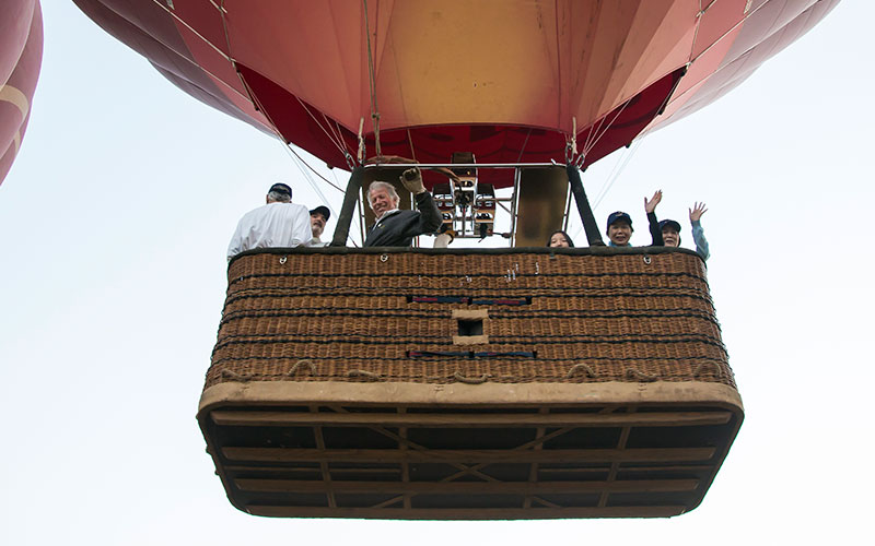 The basket just after takeoff for a flight over Bagan