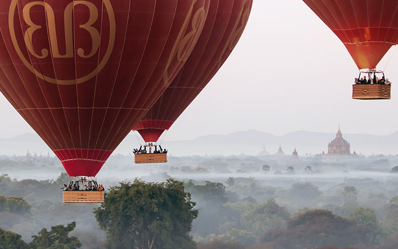 Balloons approaching cruise height over Bagan