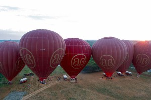 The balloons in-line as they approach the landing site