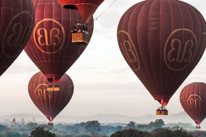 Bagan balloons taking a coordinated flight path for the best possible view for passengers