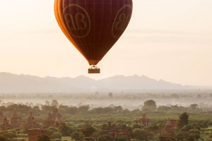 A Balloons over Bagan flight preparing for a low approach towards the pagodas