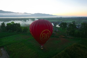 A post dawn takeoff by Balloon 1 of Balloons Over Inle