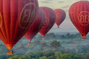 The balloons ascending just after dawn in Bagan