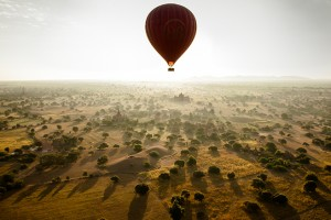 Balloon at full height providing a bird's eye view of life on the ground in Bagan