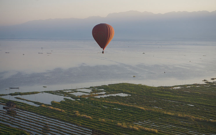 On the way to cruising height over Inle Lake by Balloons Over Inle