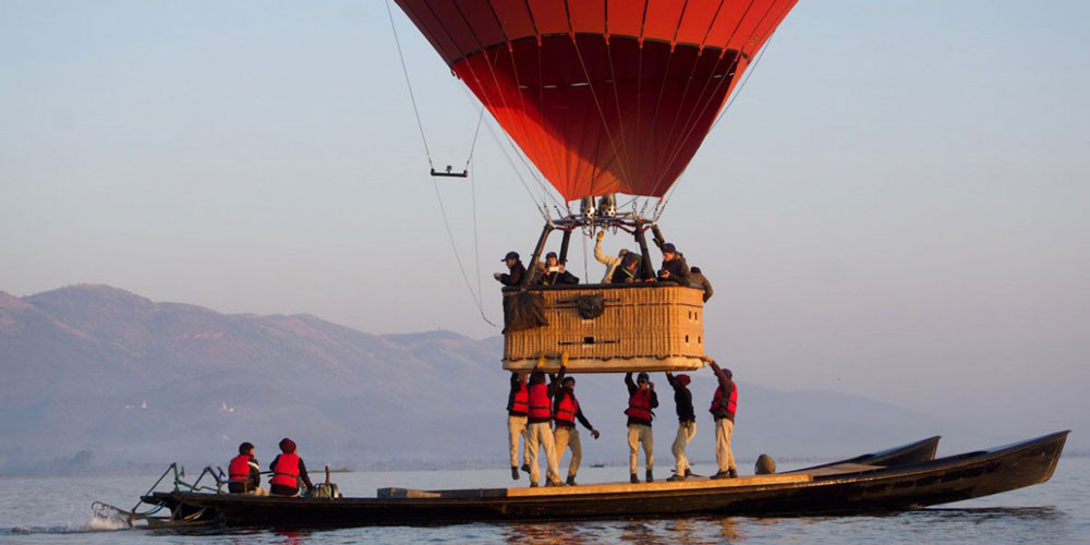A safe but exhilarating landing on Inle Lake for passengers