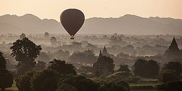 Moments before the first rays of sunshine change dawn to daybreak in Bagan